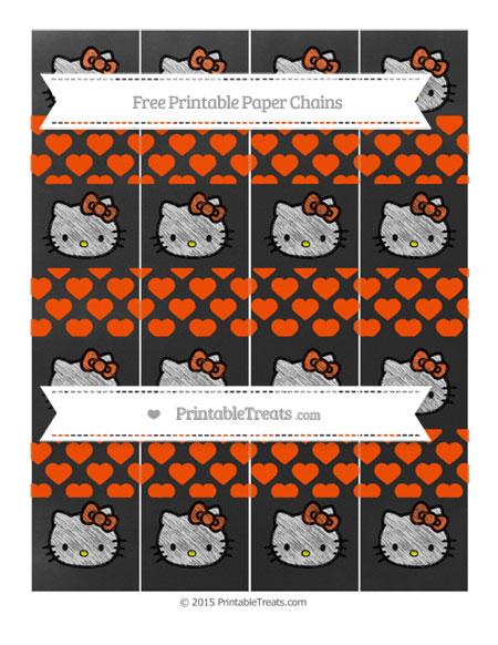 Free Orange Heart Pattern Chalk Style Hello Kitty Paper Chains
