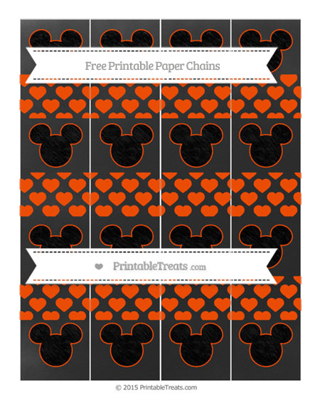 Free Orange Heart Pattern Chalk Style Mickey Mouse Paper Chains
