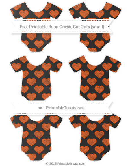 Free Orange Heart Pattern Chalk Style Small Baby Onesie Cut Outs