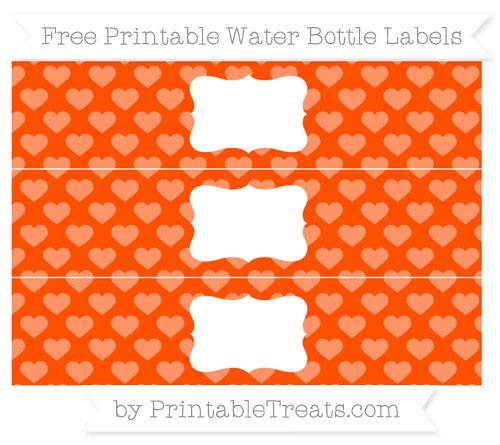 Free Orange Heart Pattern Water Bottle Labels