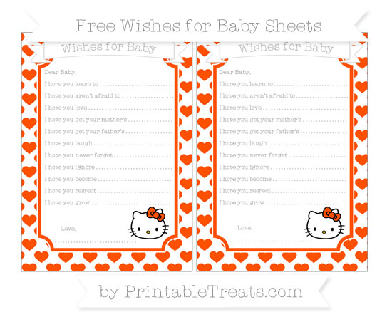 Free Orange Heart Pattern Hello Kitty Wishes for Baby Sheets