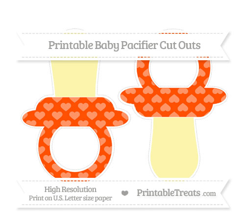 Free Orange Heart Pattern Large Baby Pacifier Cut Outs