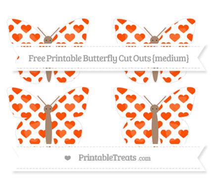Free Orange Heart Pattern Medium Butterfly Cut Outs