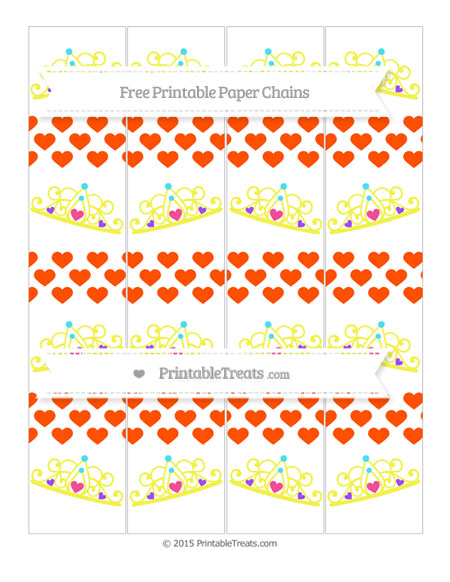 Free Orange Heart Pattern Princess Tiara Paper Chains