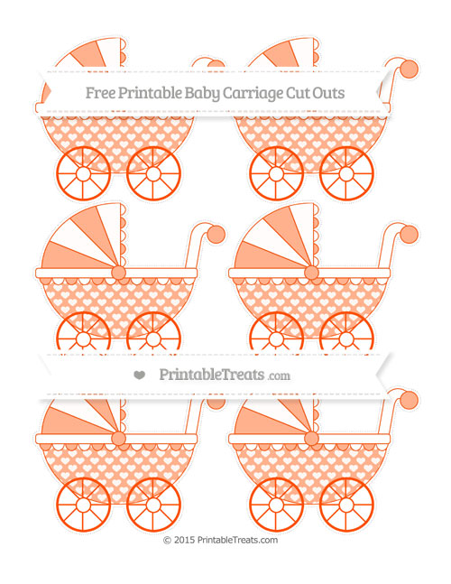 Free Orange Heart Pattern Small Baby Carriage Cut Outs