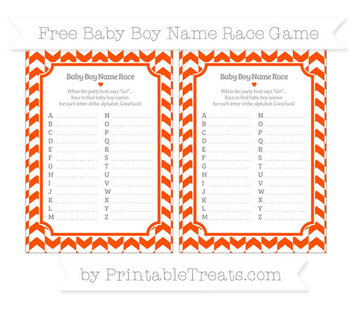 Free Orange Herringbone Pattern Baby Boy Name Race Game