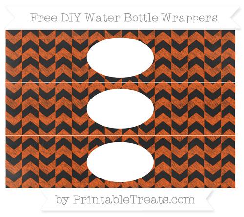 Free Orange Herringbone Pattern Chalk Style DIY Water Bottle Wrappers
