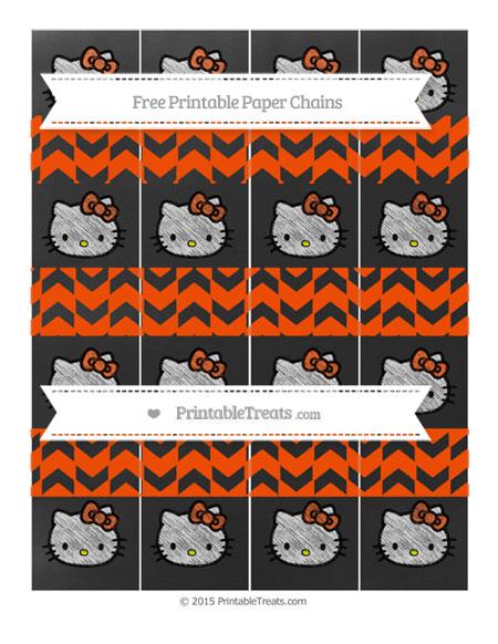 Free Orange Herringbone Pattern Chalk Style Hello Kitty Paper Chains