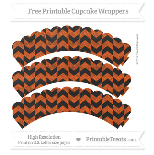 Free Orange Herringbone Pattern Chalk Style Scalloped Cupcake Wrappers