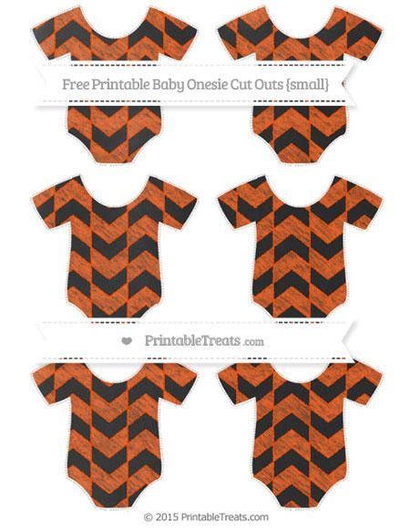 Free Orange Herringbone Pattern Chalk Style Small Baby Onesie Cut Outs