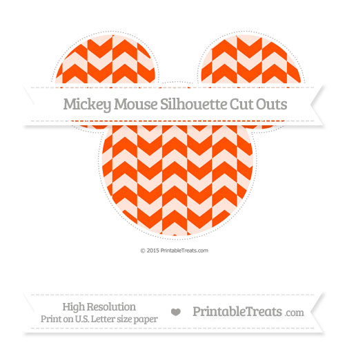 Free Orange Herringbone Pattern Extra Large Mickey Mouse Silhouette Cut Outs