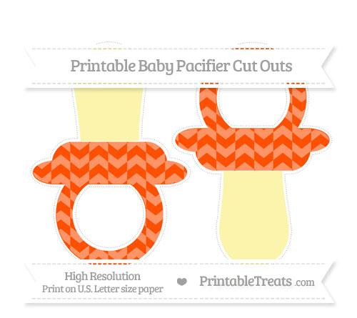 Free Orange Herringbone Pattern Large Baby Pacifier Cut Outs