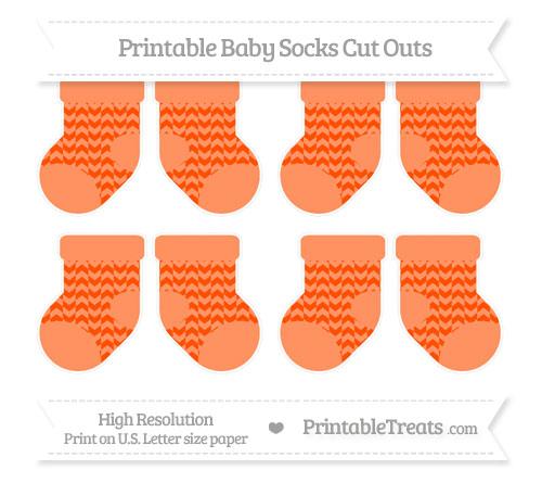Free Orange Herringbone Pattern Small Baby Socks Cut Outs