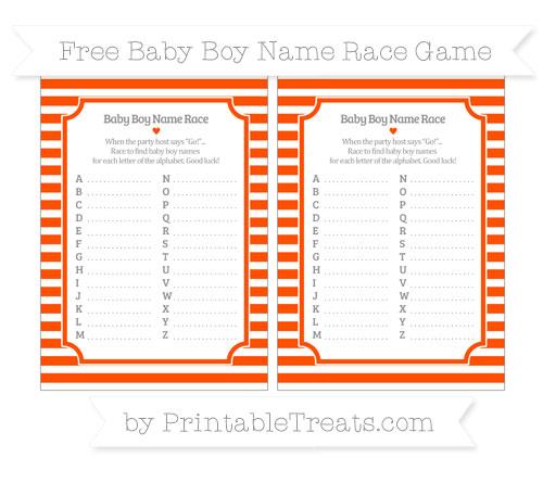 Free Orange Horizontal Striped Baby Boy Name Race Game