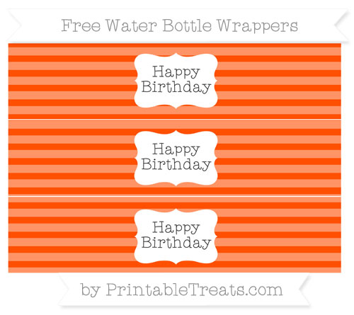 Free Orange Horizontal Striped Happy Birhtday Water Bottle Wrappers