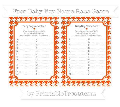 Free Orange Houndstooth Pattern Baby Boy Name Race Game