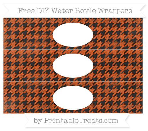 Free Orange Houndstooth Pattern Chalk Style DIY Water Bottle Wrappers