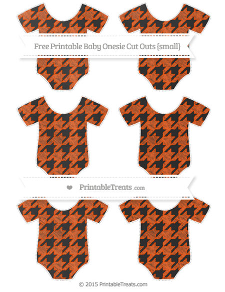 Free Orange Houndstooth Pattern Chalk Style Small Baby Onesie Cut Outs