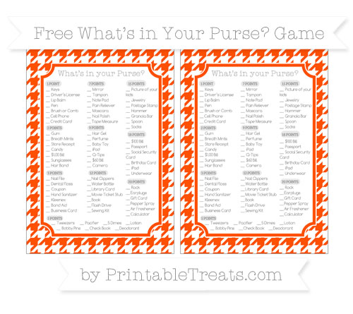 Free Orange Houndstooth Pattern What's in Your Purse Baby Shower Game