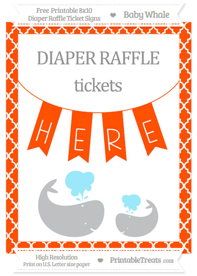Free Orange Moroccan Tile Baby Whale 8x10 Diaper Raffle Ticket Sign