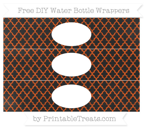 Free Orange Moroccan Tile Chalk Style DIY Water Bottle Wrappers