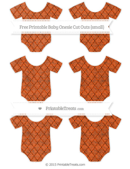 Free Orange Moroccan Tile Chalk Style Small Baby Onesie Cut Outs
