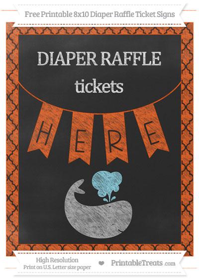 Free Orange Moroccan Tile Chalk Style Whale 8x10 Diaper Raffle Ticket Sign