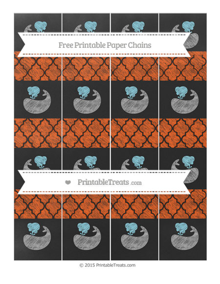 Free Orange Moroccan Tile Chalk Style Whale Paper Chains