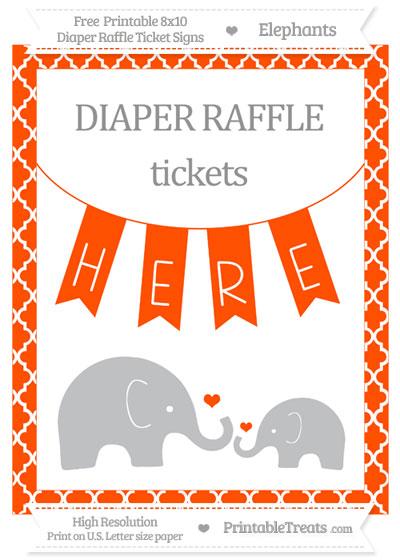 Free Orange Moroccan Tile Elephant 8x10 Diaper Raffle Ticket Sign