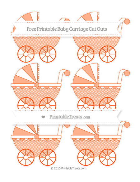 Free Orange Moroccan Tile Small Baby Carriage Cut Outs