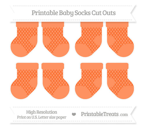 Free Orange Moroccan Tile Small Baby Socks Cut Outs