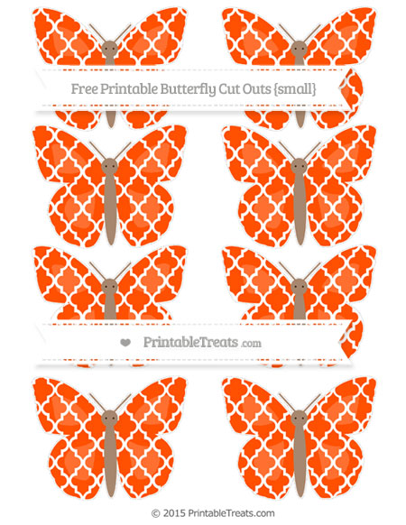 Free Orange Moroccan Tile Small Butterfly Cut Outs