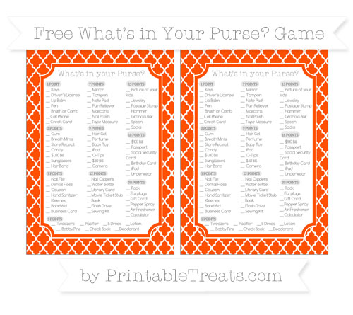 Free Orange Moroccan Tile What's in Your Purse Baby Shower Game