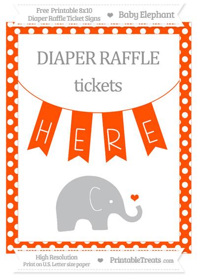 Free Orange Polka Dot Baby Elephant 8x10 Diaper Raffle Ticket Sign