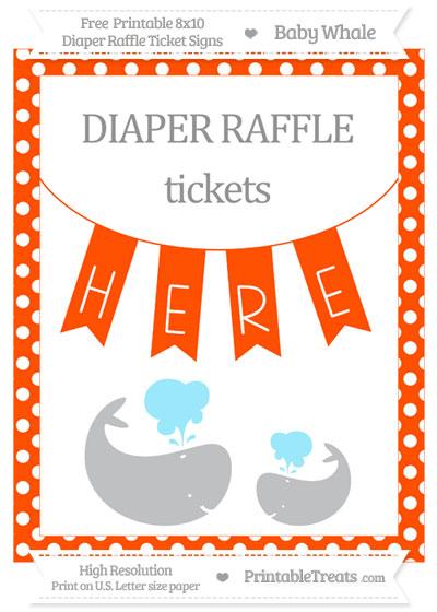 Free Orange Polka Dot Baby Whale 8x10 Diaper Raffle Ticket Sign