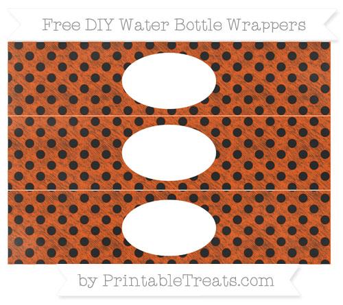 Free Orange Polka Dot Chalk Style DIY Water Bottle Wrappers