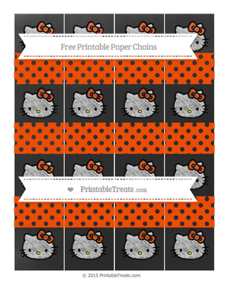 Free Orange Polka Dot Chalk Style Hello Kitty Paper Chains