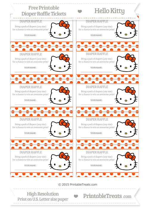 Free Orange Polka Dot Hello Kitty Diaper Raffle Tickets