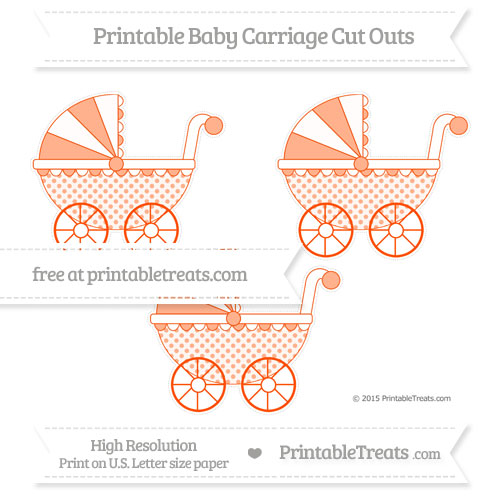 Free Orange Polka Dot Medium Baby Carriage Cut Outs