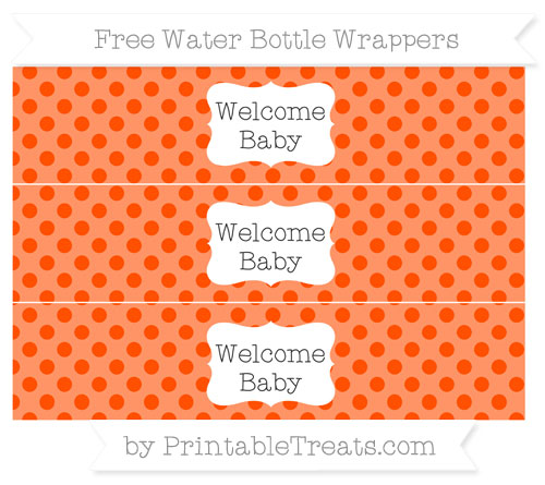 Free Orange Polka Dot Welcome Baby Water Bottle Wrappers