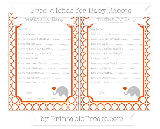Free Orange Quatrefoil Pattern Baby Elephant Wishes for Baby Sheets