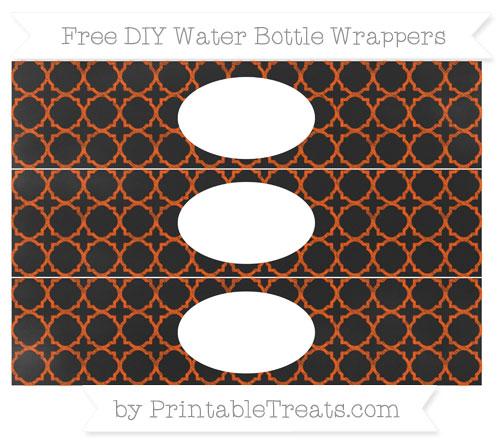 Free Orange Quatrefoil Pattern Chalk Style DIY Water Bottle Wrappers