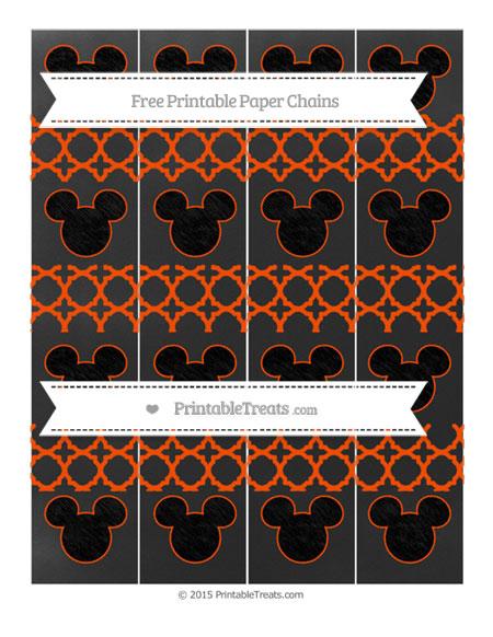 Free Orange Quatrefoil Pattern Chalk Style Mickey Mouse Paper Chains