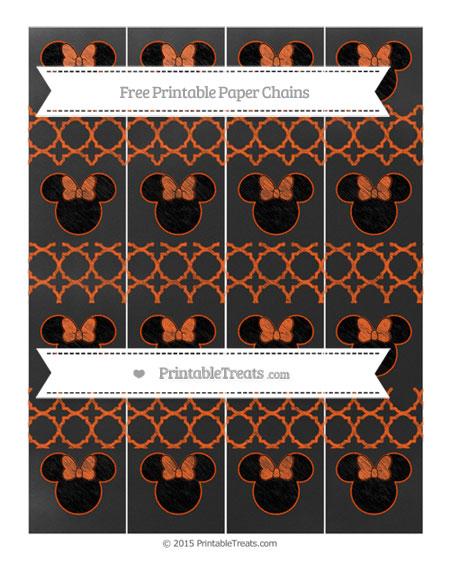 Free Orange Quatrefoil Pattern Chalk Style Minnie Mouse Paper Chains