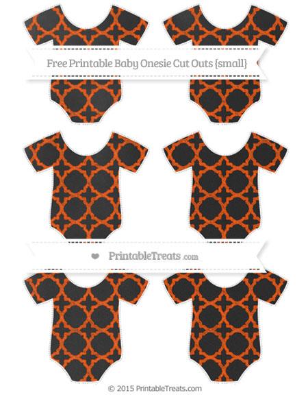 Free Orange Quatrefoil Pattern Chalk Style Small Baby Onesie Cut Outs