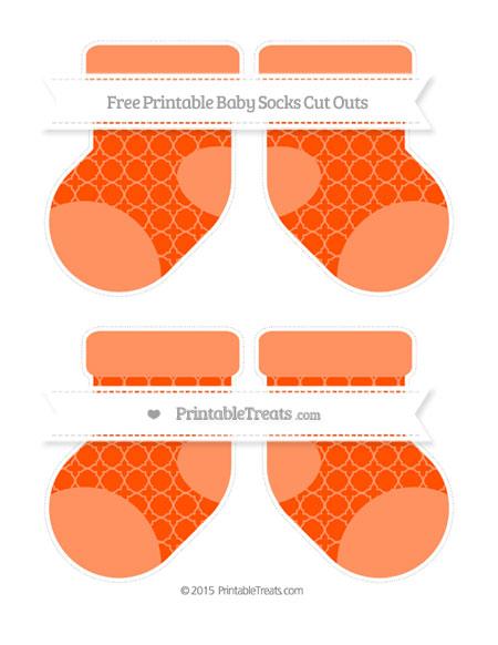 Free Orange Quatrefoil Pattern Medium Baby Socks Cut Outs