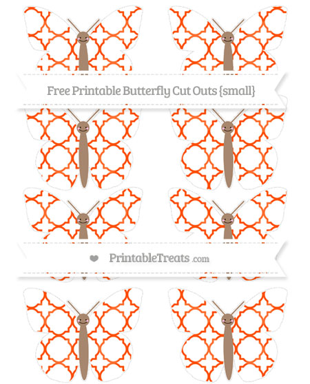 Free Orange Quatrefoil Pattern Small Smiley Butterfly Cut Outs