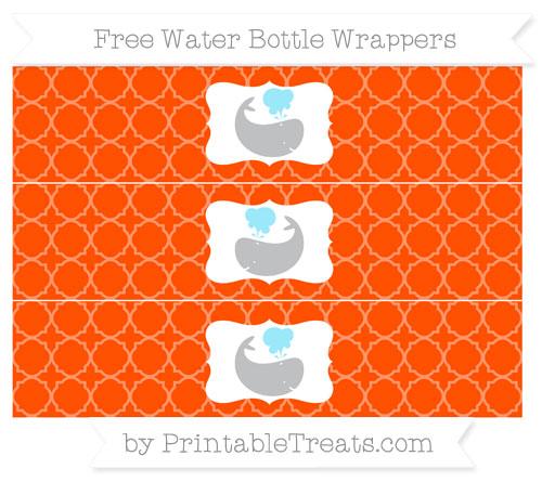 Free Orange Quatrefoil Pattern Whale Water Bottle Wrappers