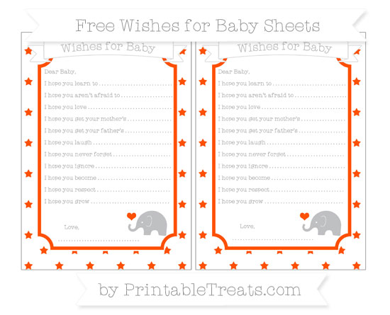 Free Orange Star Pattern Baby Elephant Wishes for Baby Sheets