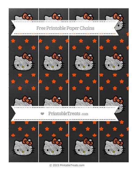 Free Orange Star Pattern Chalk Style Hello Kitty Paper Chains